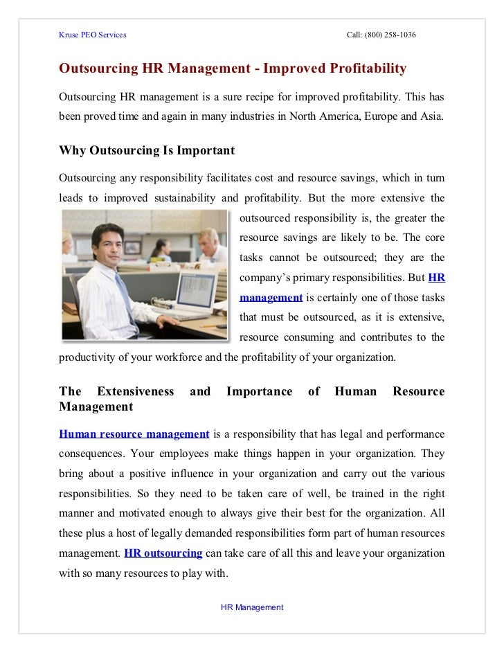 Outsourcing hr management  iimproved profitability