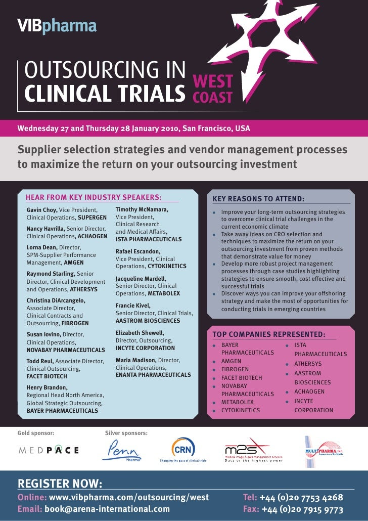VIBpharma    OUTSOURCING IN WEST   CLINICAL TRIALS COAST Wednesday 27 and Thursday 28 January 2010, San Francisco, USA  Su...