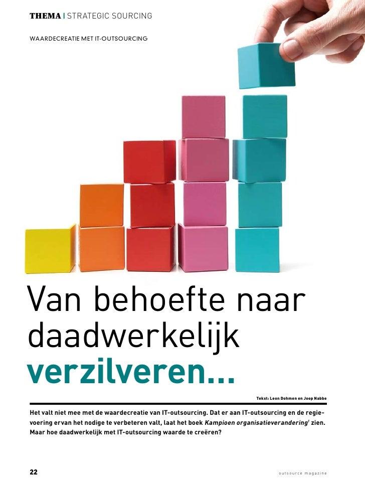 Outsourcing magazine - augustus 2011 - Waardecreatie met IT Outsourcing