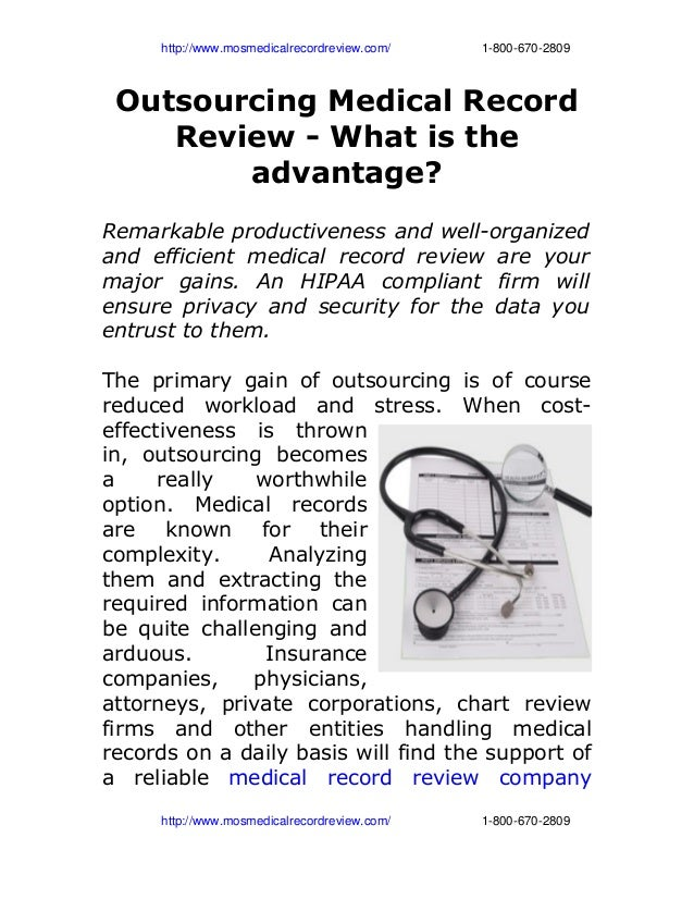 Outsourcing medical record review   what is the advantage