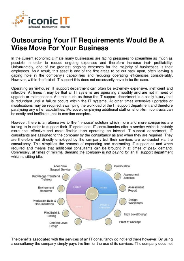 Outsourcing Your IT Requirements Would Be AWise Move For Your BusinessIn the current economic climate many businesses are ...