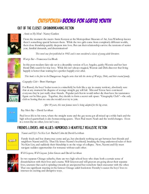 Outspoken: Books For LGBTQ Youth updated spring 2013
