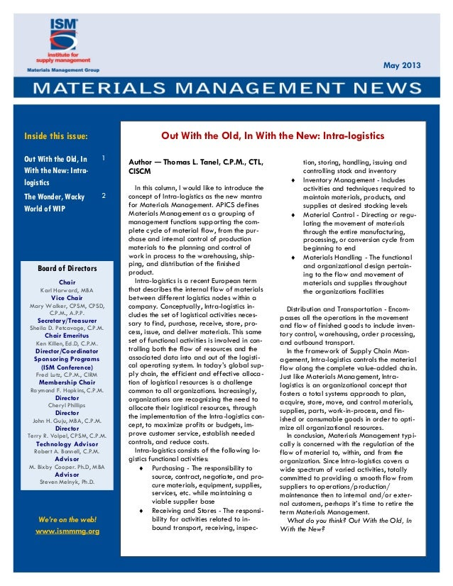 Out with the old, in with the new intra-logistics--mmg news letter 2013
