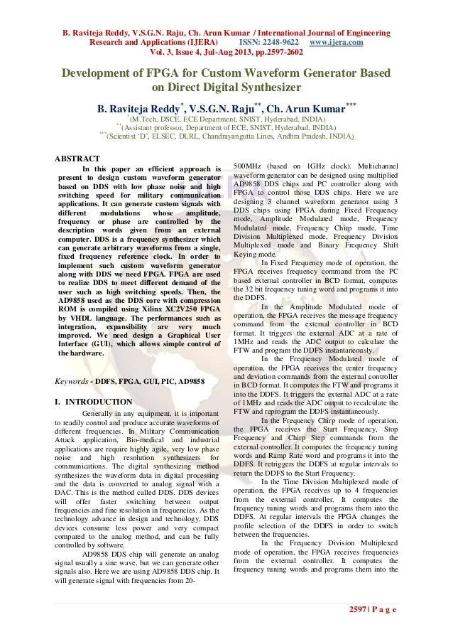 B. Raviteja Reddy, V.S.G.N. Raju, Ch. Arun Kumar / International Journal of Engineering Research and Applications (IJERA) ...