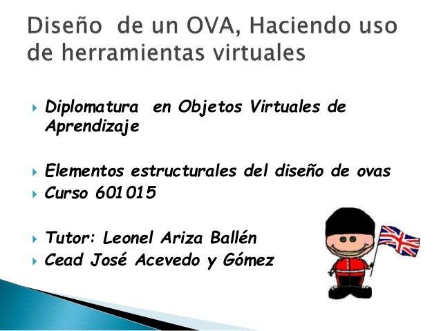  Diplomatura en Objetos Virtuales de Aprendizaje  Elementos estructurales del diseño de ovas  Curso 601015  Tutor: Leo...