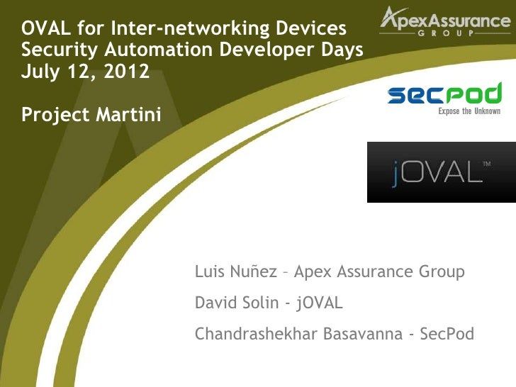 OVAL for Inter-networking DevicesSecurity Automation Developer DaysJuly 12, 2012Project Martini                  Luis Nuñe...
