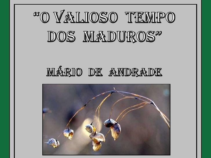 O valioso tempo_dos_maduros_m_andrade
