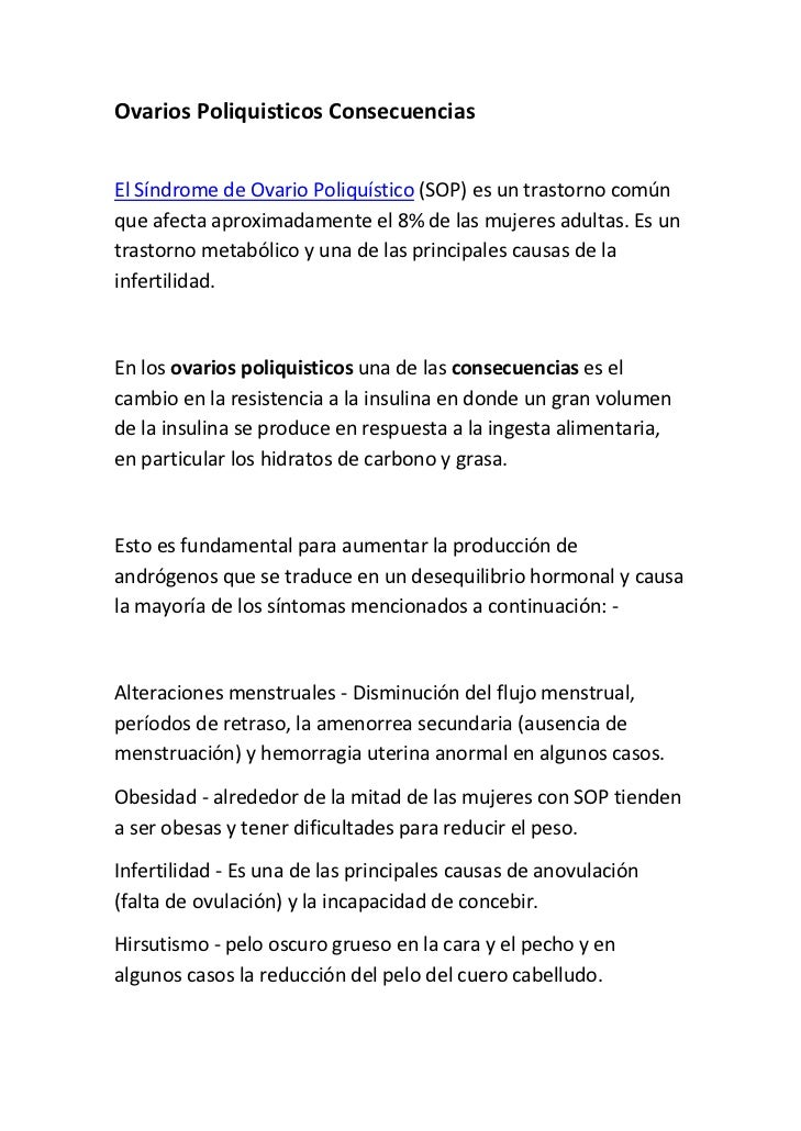OvariosPoliquisticosConsecuenciasElSíndromedeOvarioPoliquístico(SOP)esuntrastornocomúnqueafectaaproximadam...