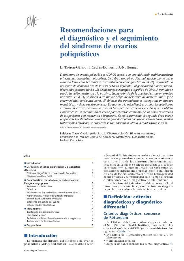 Recomendaciones para el diagnóstico y el seguimiento del síndrome de ovarios poliquísticos L. Théron-Gérard, I. Cédrin-Dur...