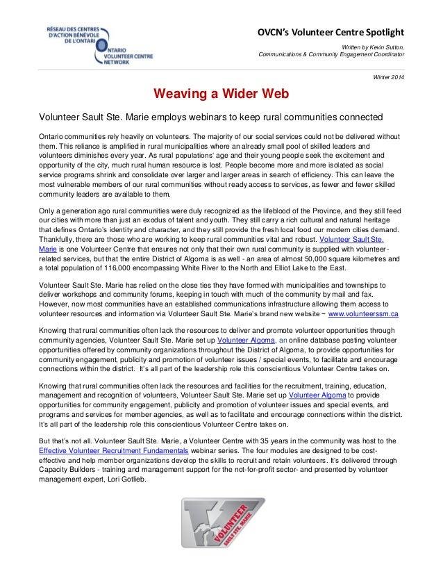 OVCN's Volunteer Centre Spotlight Written by Kevin Sutton, Communications & Community Engagement Coordinator Winter 2014 W...