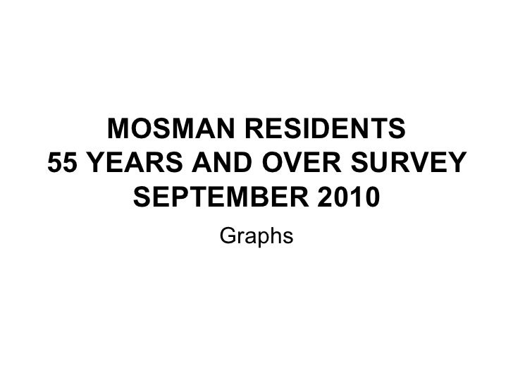 MOSMAN RESIDENTS 55 YEARS AND OVER SURVEY SEPTEMBER 2010 Graphs