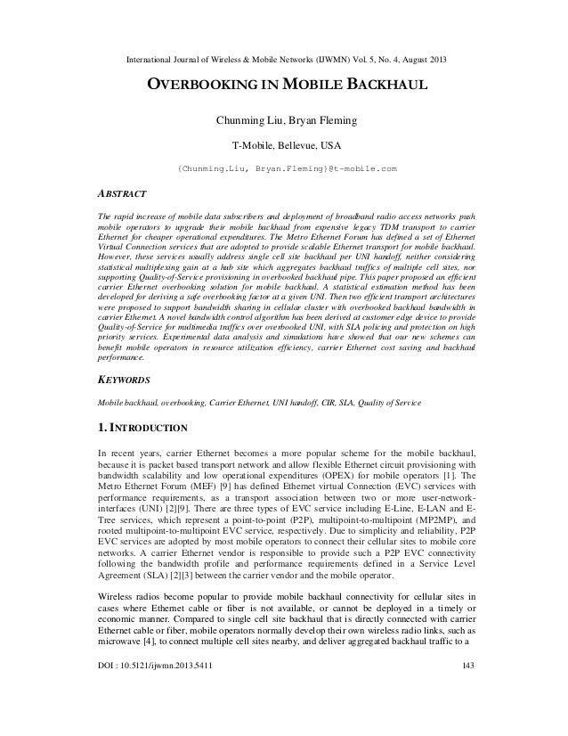 International Journal of Wireless & Mobile Networks (IJWMN) Vol. 5, No. 4, August 2013 DOI : 10.5121/ijwmn.2013.5411 143 O...