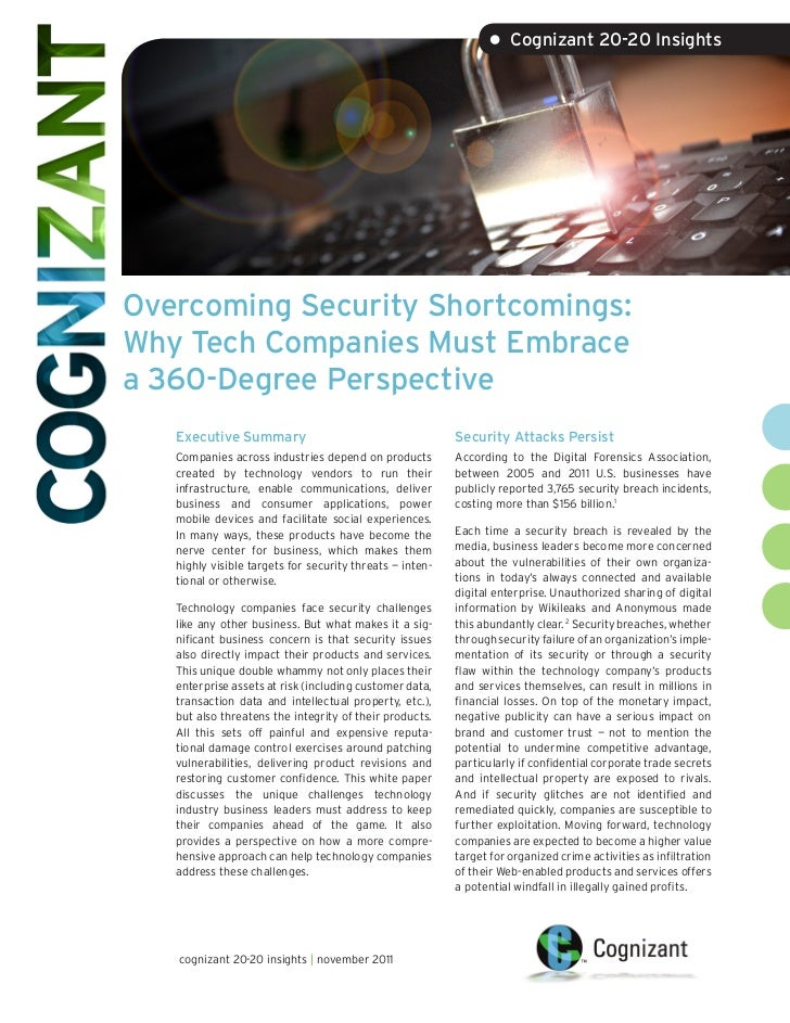 • Cognizant 20-20 InsightsOvercoming Security Shortcomings:Why Tech Companies Must Embracea 360-Degree Perspective   Execu...