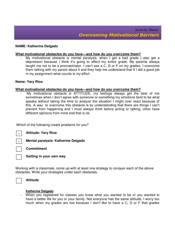 Activity Sheet:                                            Overcoming Motivational BarriersNAME: Katherine DelgadoWhat mot...