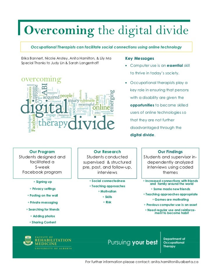 Overcoming the digital divide      Occupational Therapists can facilitate social connections using online technologyErika ...