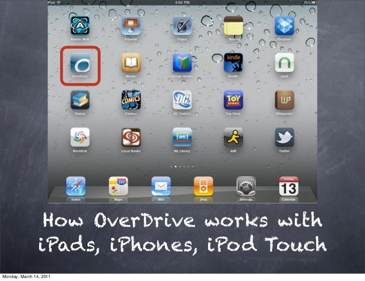 How OverDrive works with                iPads, iPhones, iPod TouchMonday, March 14, 2011