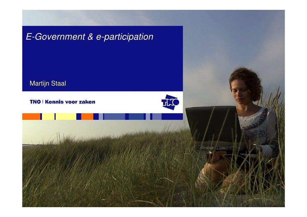 E-Government & e-participation      Martijn Staal