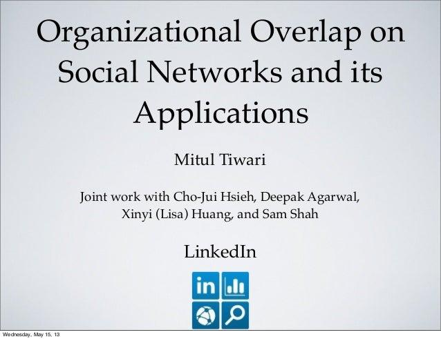 Organizational Overlap onSocial Networks and itsApplicationsMitul TiwariJoint work with Cho-Jui Hsieh, Deepak Agarwal,Xiny...