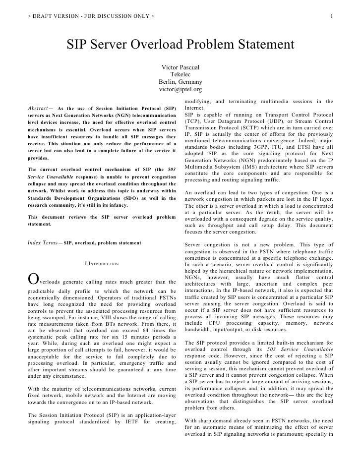 SIP Overload Control Problem Statement