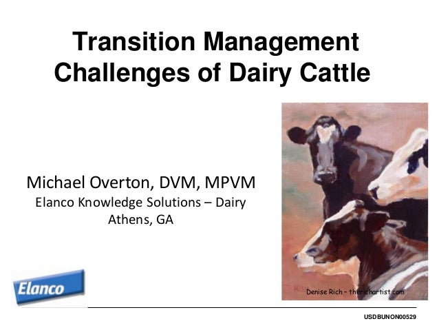 Transition Management   Challenges of Dairy CattleMichael Overton, DVM, MPVM Elanco Knowledge Solutions – Dairy           ...