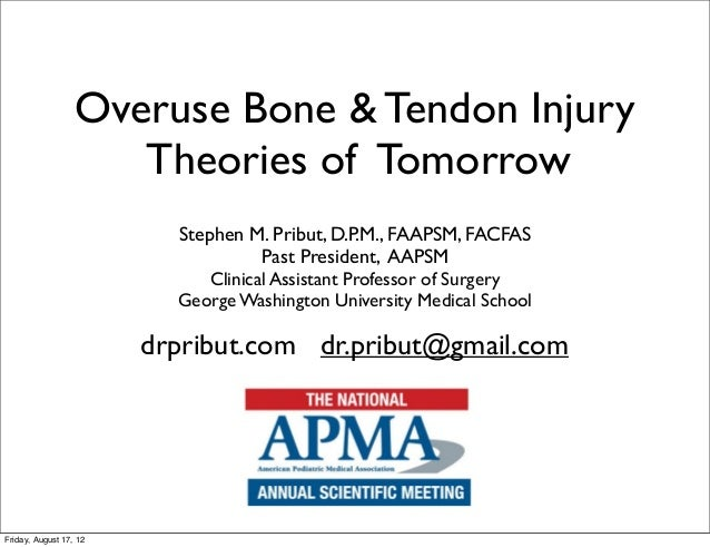 Overuse Bone & Tendon Injury                     Theories of Tomorrow                          Stephen M. Pribut, D.P.M., ...