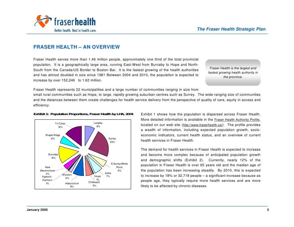 The Fraser Health Strategic Plan       FRASER HEALTH – AN OVERVIEW     Fraser Health serves more than 1.46 million people,...