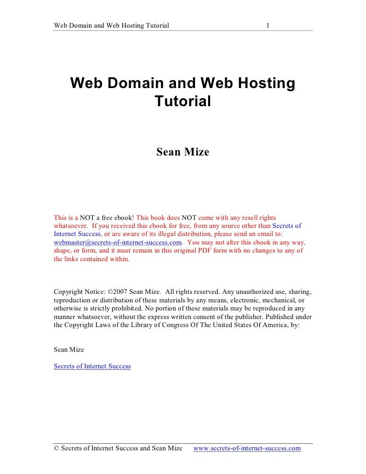 Web Domain and Web Hosting Tutorial                                     1          Web Domain and Web Hosting             ...