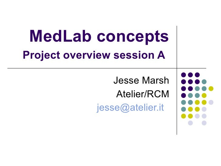 MedLab concepts Project overview session A   Jesse Marsh Atelier/RCM [email_address]