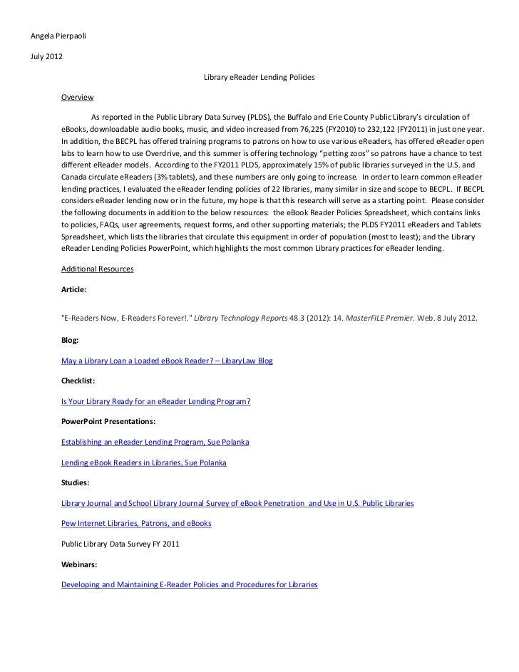 Angela PierpaoliJuly 2012                                                  Library eReader Lending Policies        Overvie...