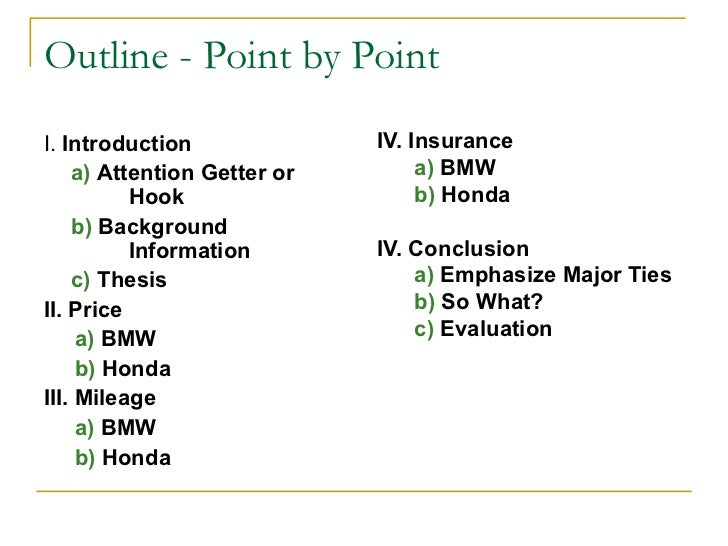 point by point format essay There are two recommended patterns for a comparison essay: point-by-point (or alternating) pattern and subject-by-subject (or block) pattern alternating pattern alternating pattern is also known as point-by-point comparison.