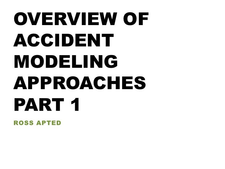 Overview modeling approches part 1