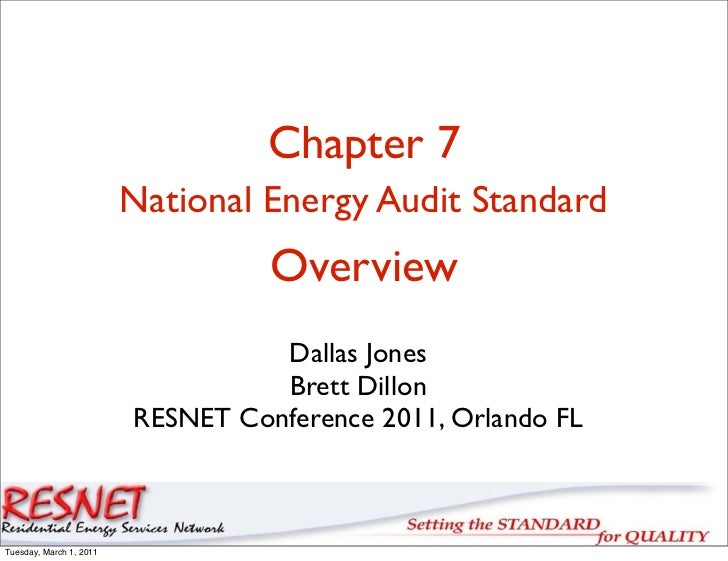 Chapter 7                         National Energy Audit Standard                                   Overview               ...
