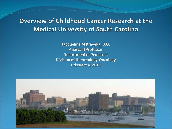 Overview of childhood cancer research at musc 2010