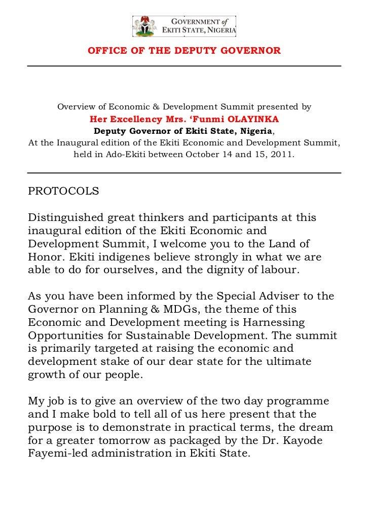 Overview of economic & development summit