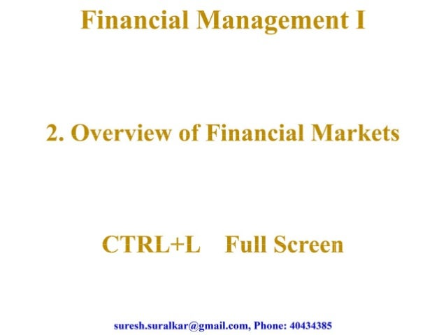 Overview of financial markets chapter 2 theory