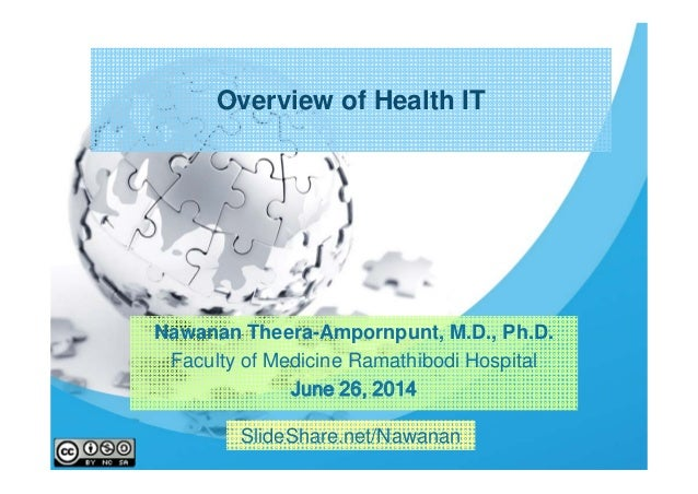 Overview of Health IT Nawanan Theera-Ampornpunt, M.D., Ph.D. Faculty of Medicine Ramathibodi Hospital June 26, 2014 SlideS...
