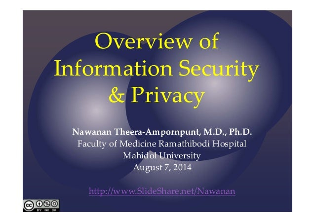 Overviewof InformationSecurity &Privacy Nawanan Theera‐Ampornpunt,M.D.,Ph.D. FacultyofMedicineRamathibodi Hospit...