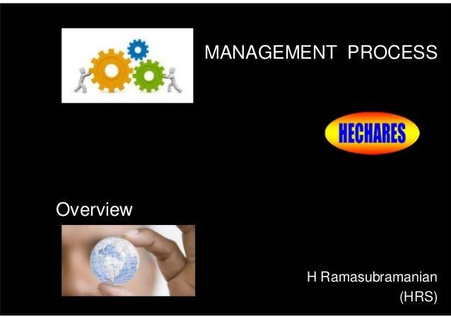 Overview of Management -  Management Process