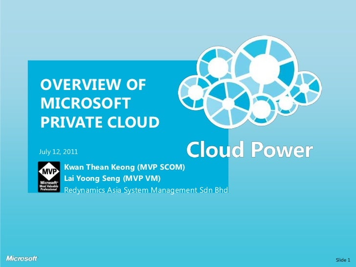 OVERVIEW OF MICROSOFT PRIVATE CLOUD<br />Kwan TheanKeong (MVP SCOM)<br />Lai YoongSeng (MVP VM)<br />Redynamics Asia Syste...