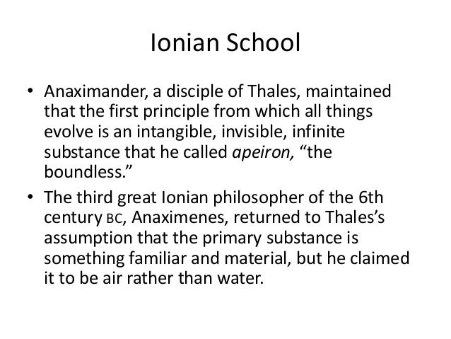 thales and anaximander essay 2015/03/23  anaximander came after thales and his thought was that the elements: water, earth, air and fire were opposing each other as an attempt of each to increase itself in quantity this was an improvement of thales idea that the origin.