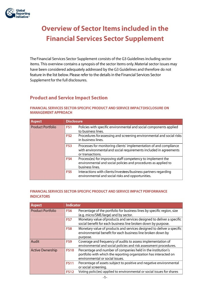 Overview Of The GRI Financial Services Sector Supplement