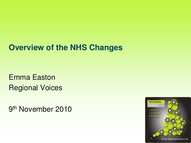 Overview of the NHS Changes Emma Easton Regional Voices 9th November 2010