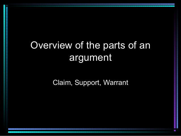 Overview of the parts of an argument Claim, Support, Warrant