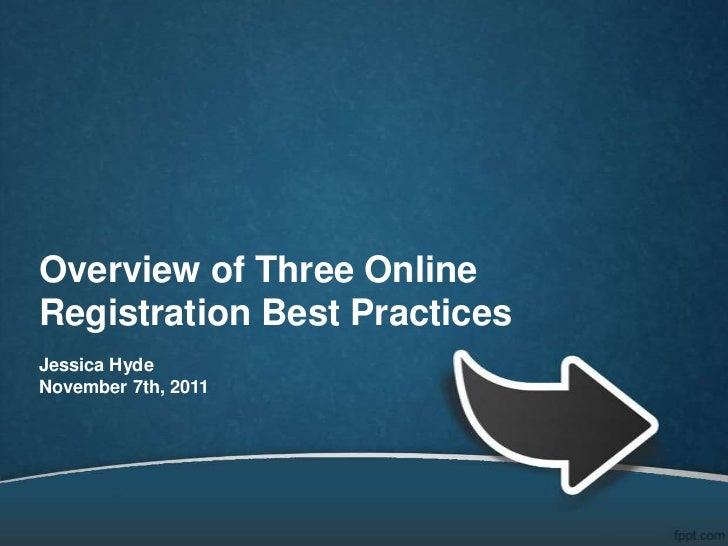 Overview of Three OnlineRegistration Best PracticesJessica HydeNovember 7th, 2011