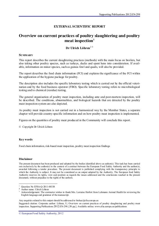 Overview on current practices of poultry slaughtering and poultry meat inspection