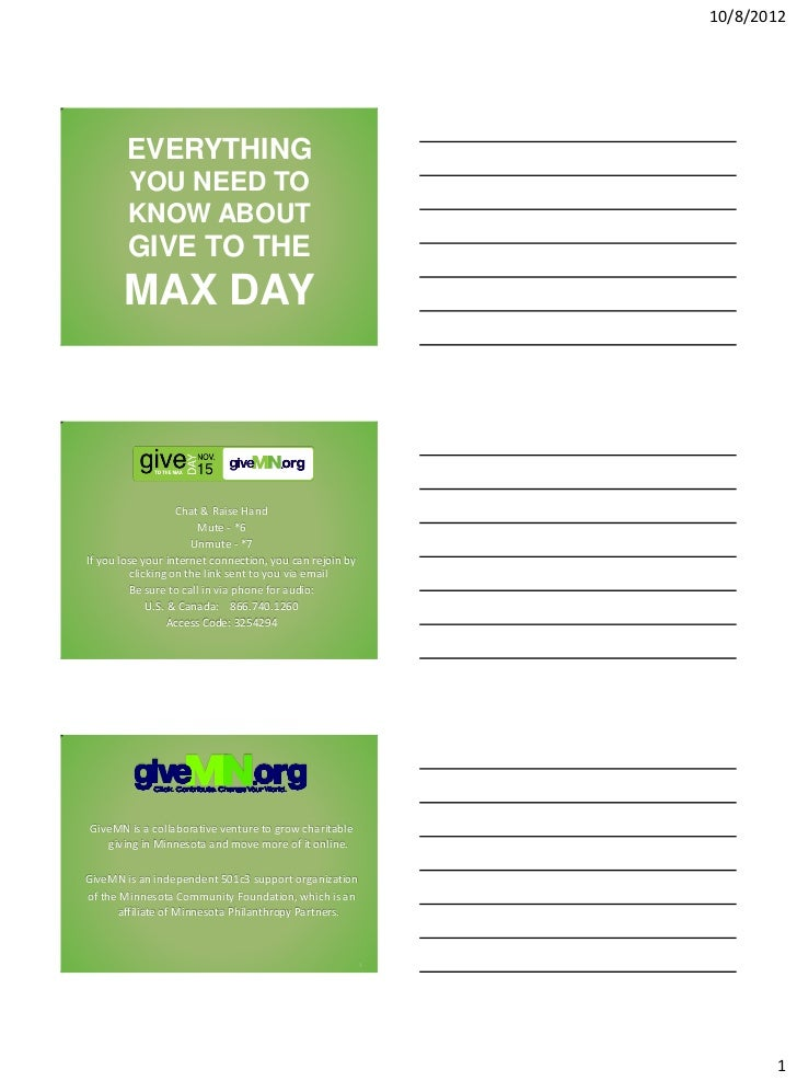 10/8/2012        EVERYTHING        YOU NEED TO        KNOW ABOUT        GIVE TO THE       MAX DAY                   Chat &...
