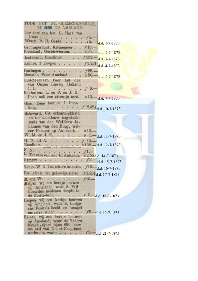 Overzicht donaties voor bouw st. clemenskerk in 1873 in de krant de tijd
