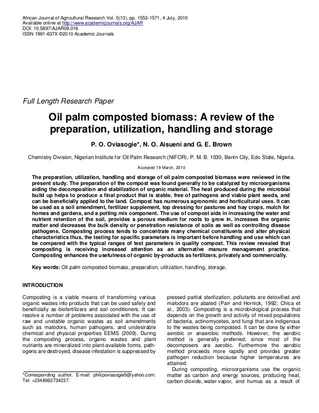 Oil palm composted biomass: preparation, utilization, handling and storage
