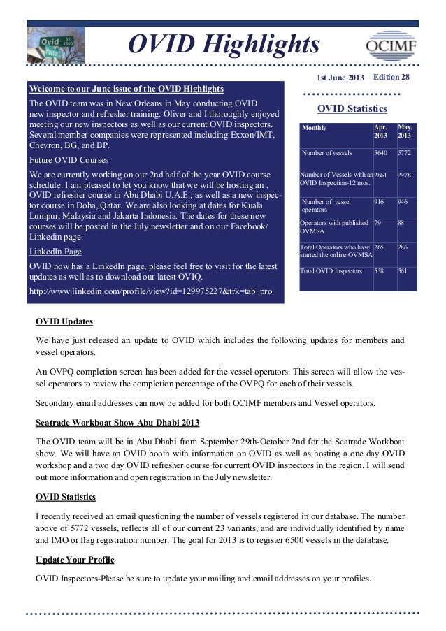 OVID Highlights1st June 2013 Edition 28OVID StatisticsMonthly Apr.2013May.2013Number of vessels 5640 5772Number of Vessels...