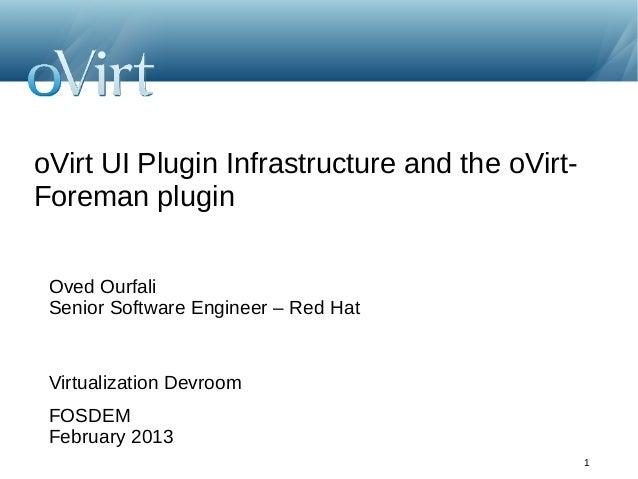 oVirt UI Plugin Infrastructure and the oVirt-Foreman plugin